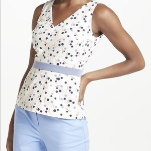 Boden Womens Sinead White Dotted Fitted Top Size 6
